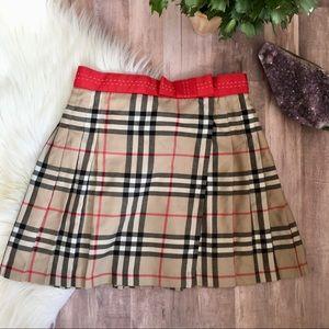 Burberry London wool nova check pleated skirt